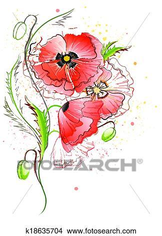 Klipart Beloba Graficke Pozadi S Vlci Mak Kvetiny K18635704