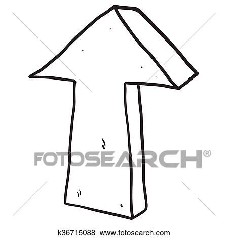 Black And White Freehand Drawn Cartoon Arrow Pointing Up Clip Art