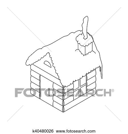 stock illustration of christmas house icon outline style k40480026