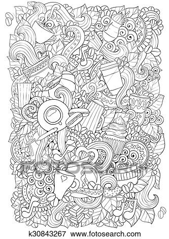 Ethnic zentangle pattern can be used for menu, wallpaper, pattern fills, coloring books and pages for kids and adults. Black and white.