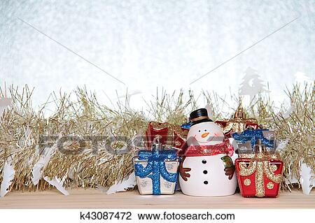 Cute Snowman Christmas Gifts Box Or Presents And Gold