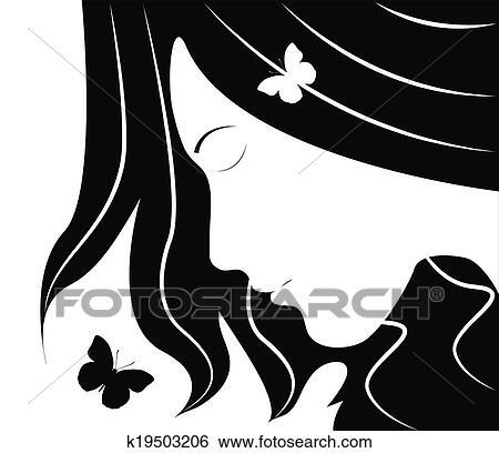 Clipart Girl Profil Et Papillons K19503206 Recherchez Des