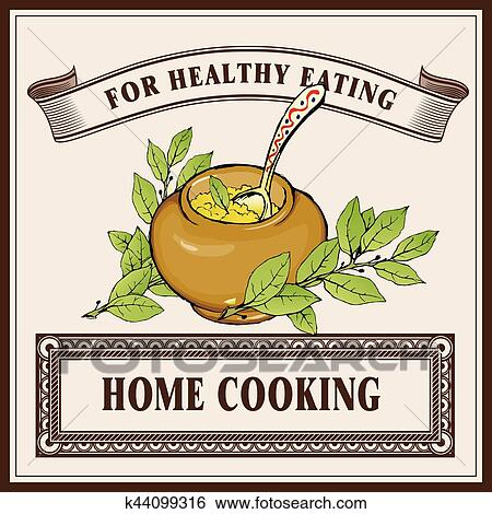 Home Cooking Logo Banner Template Porridge In Ceramic Pot With Laurel Branches Clip Art K44099316 Fotosearch