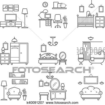 Home Room Icons Set Interior Design Room Types Living Room