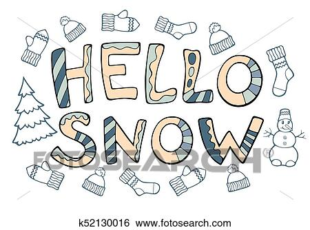 new year cartoon theme clip art modern funny lettering hello snow hand drawing ornament letters with design elements