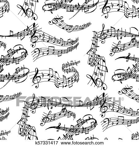 Notes music melody colorfull musician symbols sound melody seamless pattern  background text writting audio symphony vector illustration Clip Art