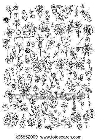 Clip Art - satz, von, schwarz, weiß, gekritzel, blumen, leaves ...