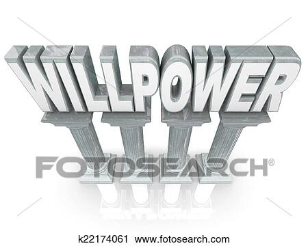 Willpower Word Strength Resolve Stability Marble Stone Columns Stock Image