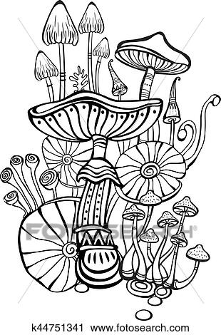 Coloring book page for adult with mushrooms Clipart | k44751341 ...