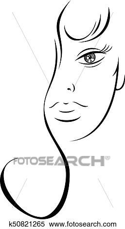 Contorno Desenho Sensual Rosto Mulher Clipart K50821265