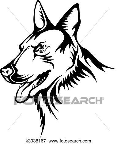 Clip Art Of German Shepherd Vector K3038167 Search Clipart - German-shepherd-drawings