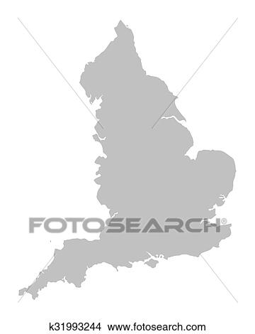 Grey Vector Map Of England Clipart K31993244