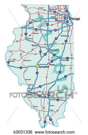 Illinois State Road Map Clip Art   k3031336   Fotosearch