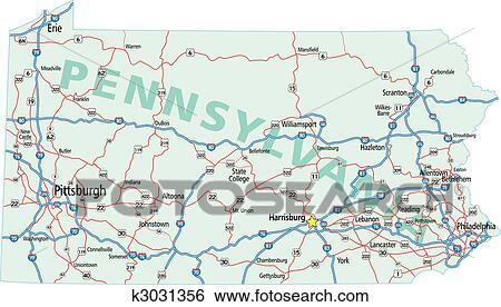 Pennsylvania Interstate Road Map Clip Art