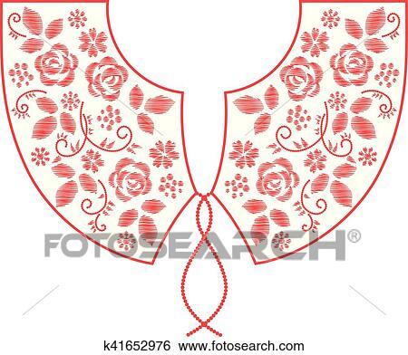 Pescoco Linha Bordado Desenho Com Flores Vetorial Clipart