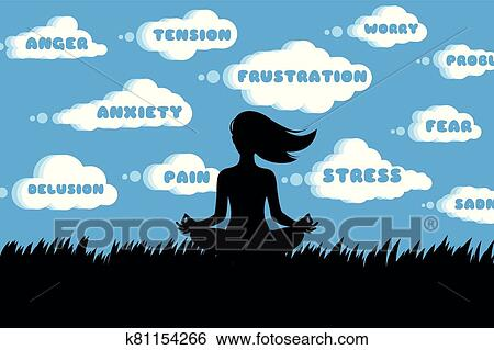 silhouette of woman doing yoga lotus pose outdoor vector