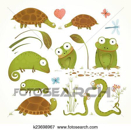 Caricatura Verde Reptil Animais Infantil Desenho Cobranca