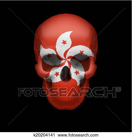 clipart of hong kong flag skull k20204141 search clip art
