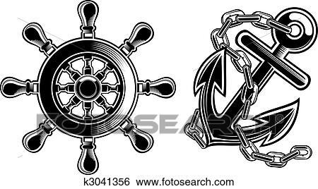 Clipart bateau volant et ancre k3041356 recherchez des cliparts des illustrations des - Dessin ancre bateau ...