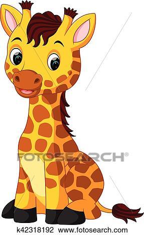 Clipart lindo jirafa caricatura k42318192 buscar - Cartone animato giraffe immagini ...