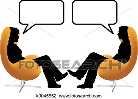 clipart of man woman couple sit talk in egg chairs k3045552 search rh fotosearch com old man and woman clipart man and woman clip art and cartoons