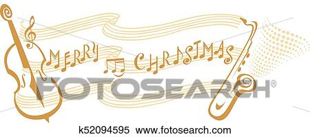 Christmas Music Notes.Merry Christmas Music Notes Clipart