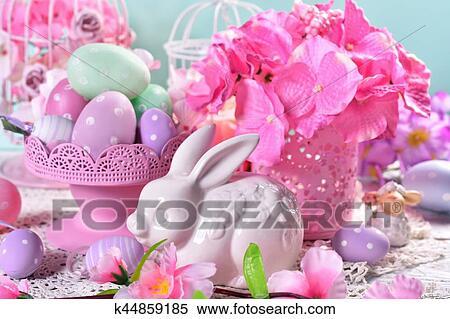 Stock Bild Osterbilder Tischdeko In Pastellfarben K44859185