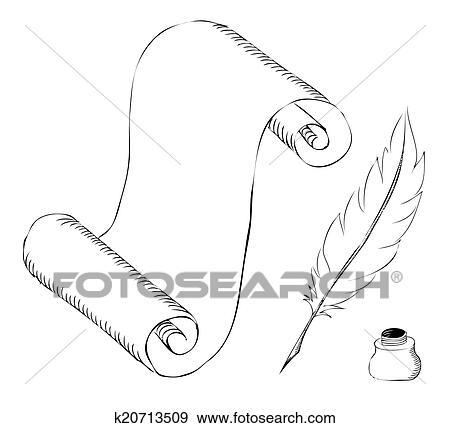 Papier à Stylo Plume Et Pot Encre Croquis Clipart