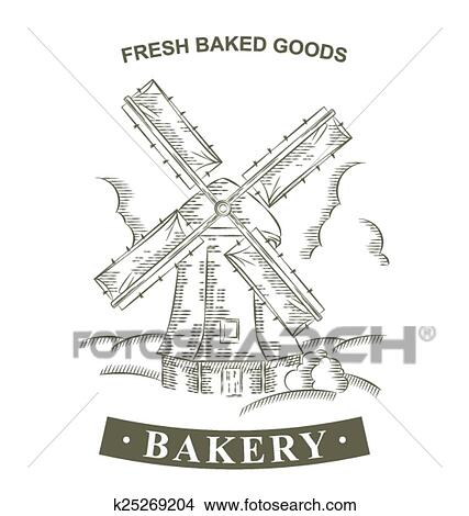 clipart of vintage windmill logo bakery design vector template hand