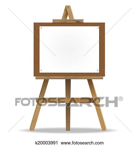 Clipart Of White Canvas On An Easel K20003991 Search Clip Art