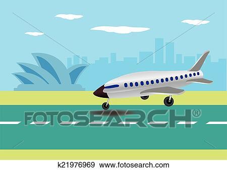 飛行機の着陸 中に オーストラリア ベクトル イラスト クリップ