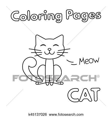Clip Art - caricatura, gato, libro colorear k45137026 - Buscar Clip ...