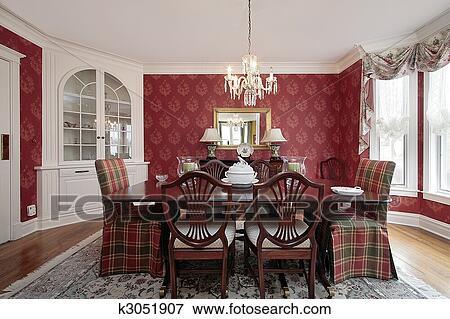 Comedor, con, paredes rojas Colección de foto | k3051907 | Fotosearch