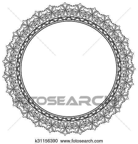 Clipart of Decorative Vector Round Frame Template with Empty Space ...