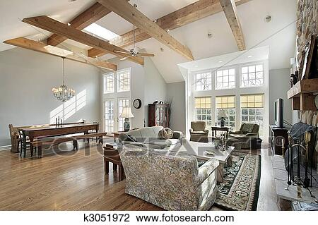 Stock foto familie kamer met plafond balken k3051972 zoek