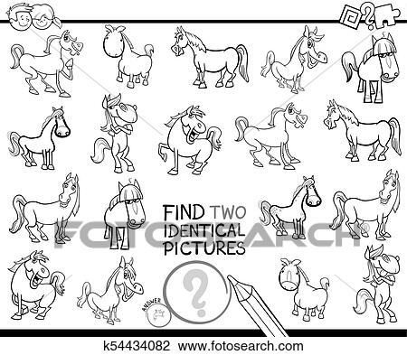 Find two identical horses educational color book Clipart