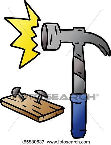 Gradient cartoon doodle of a hammer and nails Clip Art