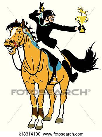 Clipart dessin anim cavalier cheval k18314100 recherchez des clip arts des illustrations - Clipart cheval ...