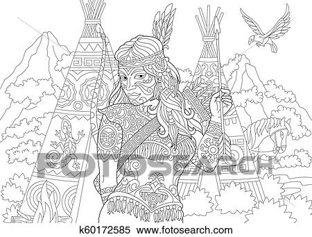 Native American Indian Woman Clipart K60172585 Fotosearch