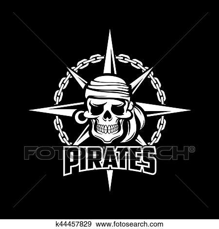 Clip Art Of Pirates Skull Symbol Black Vector Flag Or Poster