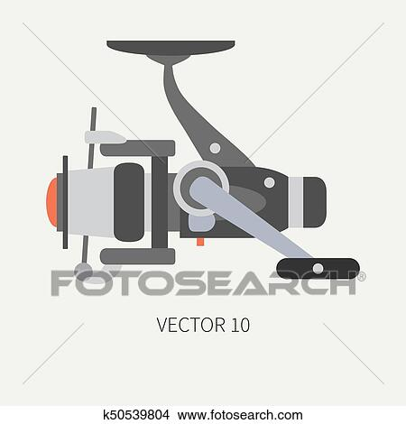 Plain Flat Color Vector Fisher And Camping Icon Fishing Reel Fisherman Equipment Retro Cartoon Style Holiday Travel Spinning Boat Nature Illustration And Element For Your Design And Wallpaper Clipart K50539804 Fotosearch