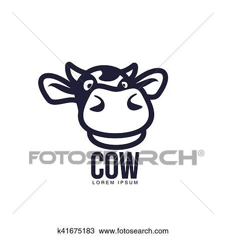 Clipart Rigolote Vue Frontale Tete Vache Logo Gabarit