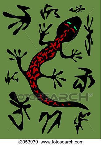 Quadro su tela salamandra del fuoco con il modello sulla parte