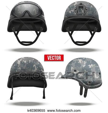 4b565526887 Set of Military tactical helmets of rapid reaction. Digital pixel camo  color. Army and police symbol. Editable Vector illustration Isolated on  white ...