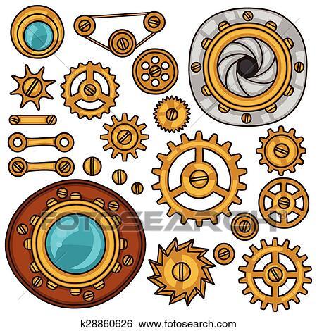 clip art of set of steampunk gears screws and cogwheels in doodle