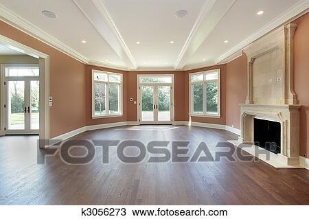 stock foto wohnzimmer mit orange wande k3056273 suche stock