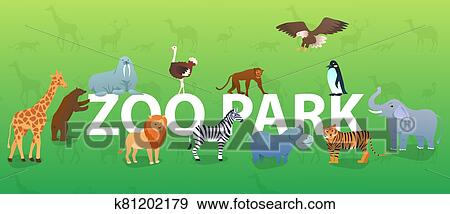 zoo animals on green background with silhouettes animals
