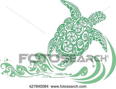 緑のカメ クリップアート切り張りイラスト絵画集 K27840084