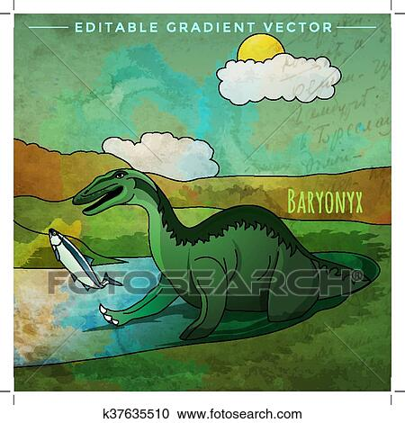 Dinosaur In The Habitat Vector Illustration Of Baryonyx Clipart