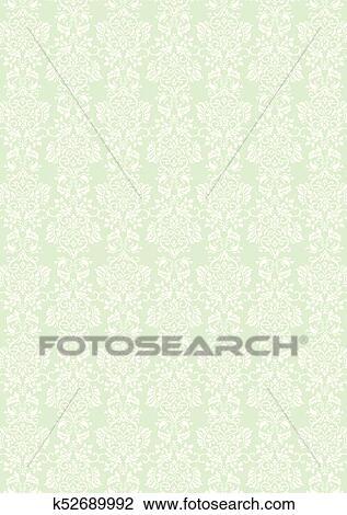 Elegant White Flowers Pattern Textured Green Wallpaper Background Clipart